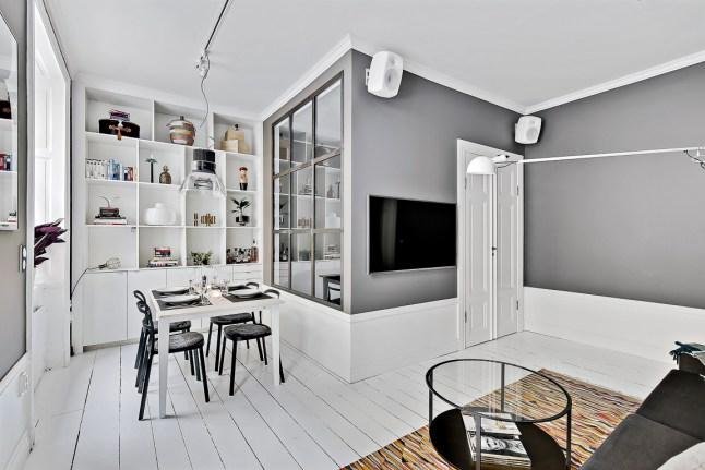 bia o szary salon razem z jadalni zdj cie w serwisie 48486. Black Bedroom Furniture Sets. Home Design Ideas