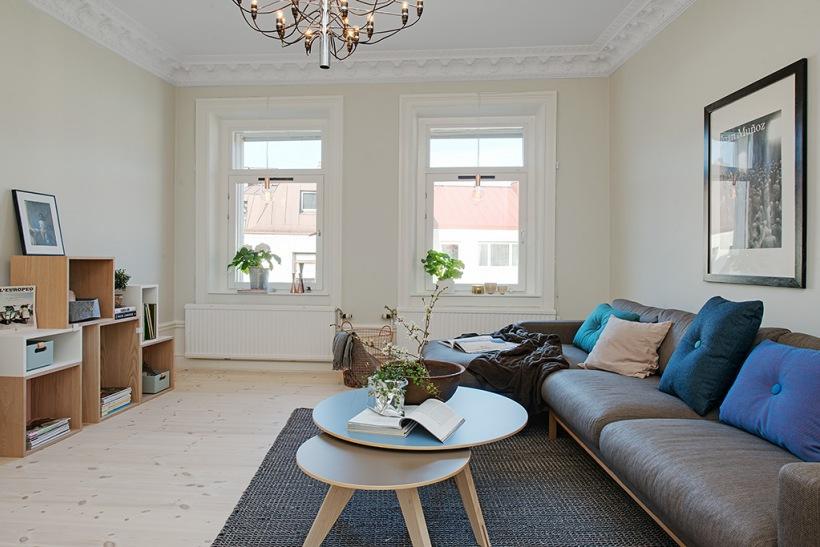 bia o szary salon z drewnianymi kubikowymi zdj cie w serwisie 22572. Black Bedroom Furniture Sets. Home Design Ideas
