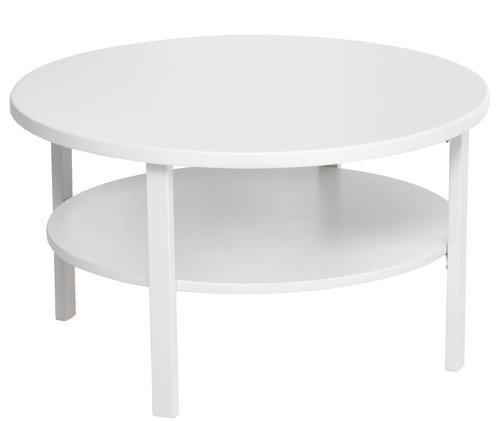Biały Okrągły Stolik Kawowy Z Dwoma Blatami Zdjęcie W