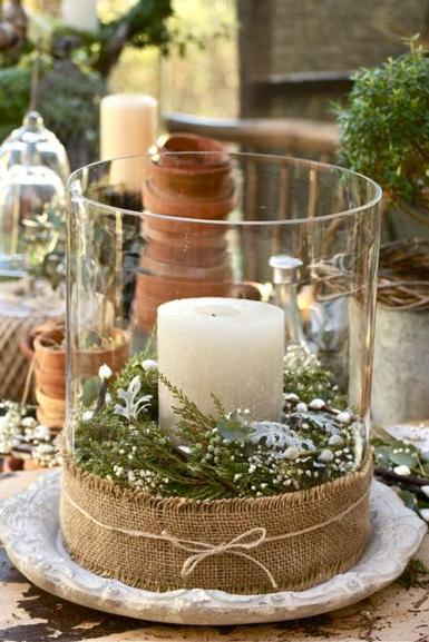 świąteczny świecznik Ze Szkła I Juty Zdjęcie W Serwisie
