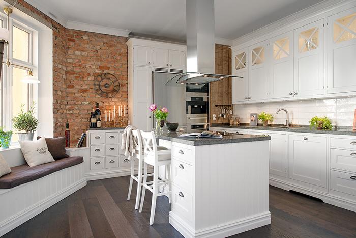 Najpiękniejsza Kuchnia Skandynawska Ze ścianami Zdjęcie W