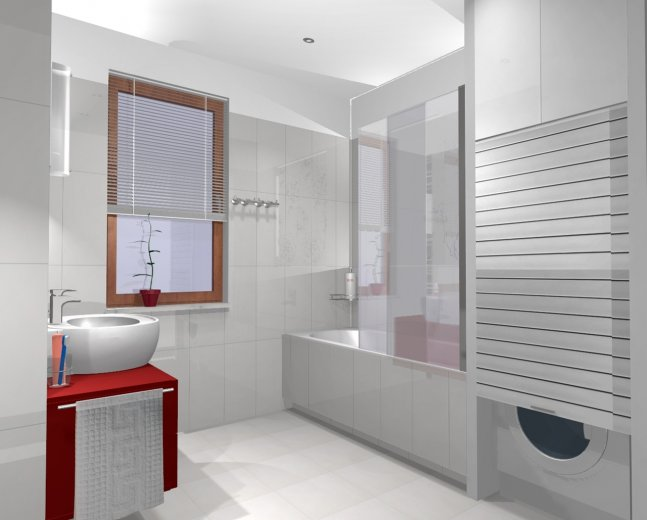 Biała łazienka z czerwoną szafką pod umywalką,pralka - zdjęcie w serwisie Lovingit.pl (26014)