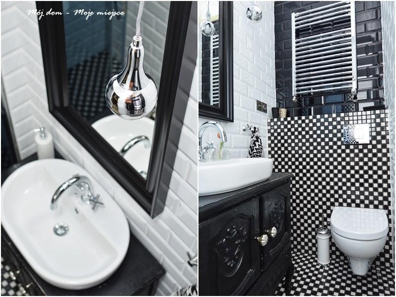 Czarne I Białe Kafle W Aranżacji łazienki Zdjęcie W