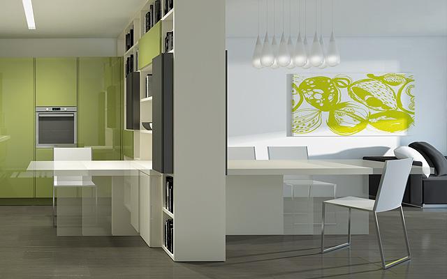 Zielono Biała Kuchniabiało Zielony Salon Zdjęcie W