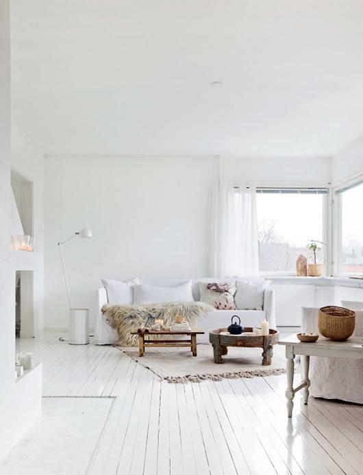 Cudowna Białe malowane deski na podłodze w salonie,białe - zdjęcie w OG94