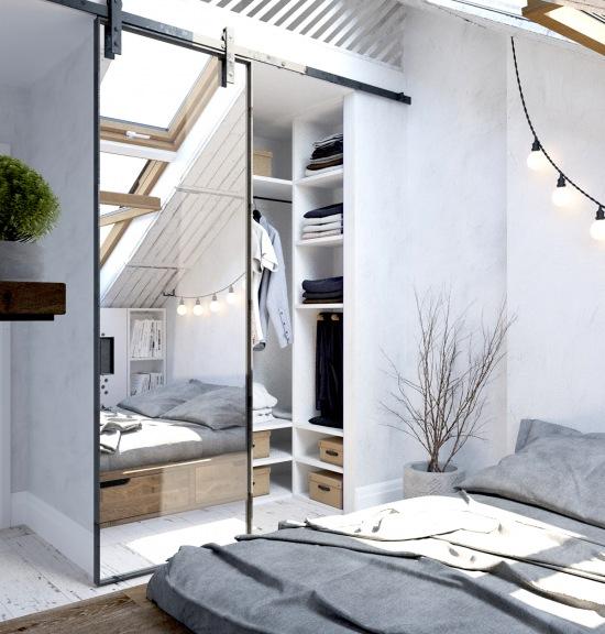 over garage apartment ideas - Mała garderoba w aranżacji białej sypialni zdjęcie w