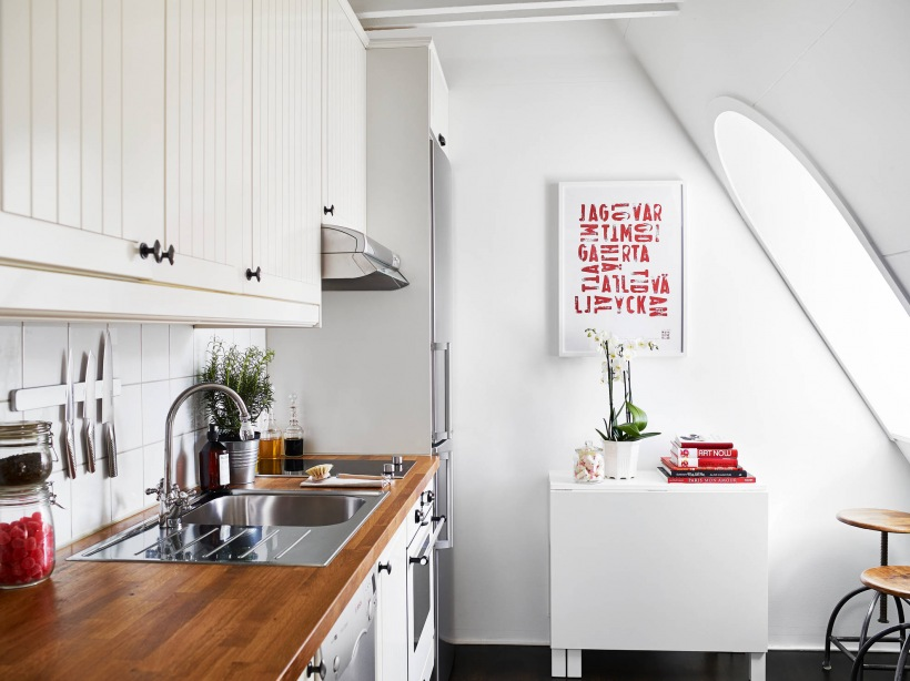 Biała kuchnia skandynawska w małym mieszkaniu  zdjęcie w   -> Kuchnia Polowa Wymogi Sanepidu