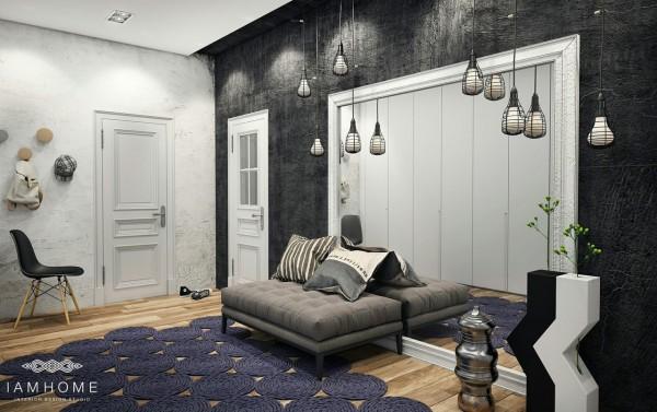fioletowy nowoczesny dywanczarna ściana zdjęcie w