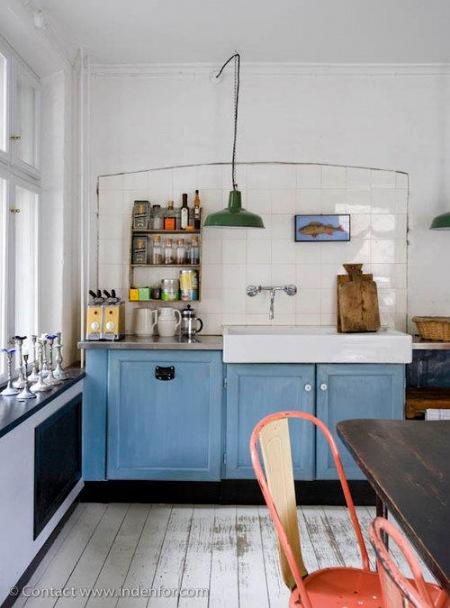 Niebieska kuchnia z industrialnymi dodatkami  zdjęcie w serwisie Lovingit pl   -> Niebieska Kuchnia Inspiracje