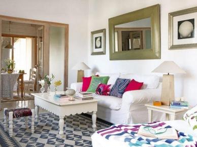 Otwarty salon z b kitnymi orientalnymi dekoracjami - Pisos decorados con encanto ...
