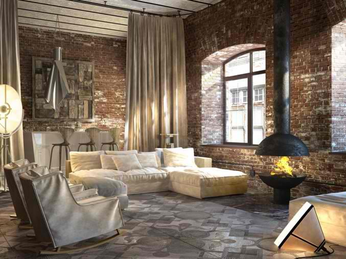 Industrialne wn trza lofty industrialny salon ciany zdj cie w serwisie 35126 - Interieur industriele stijl decoratie ...