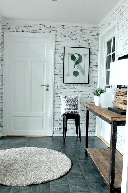 Meble Ogrodowe Okragłe : Tapeta ścienna imitujaca białą cegłę,skandynawskie  zdjęcie w
