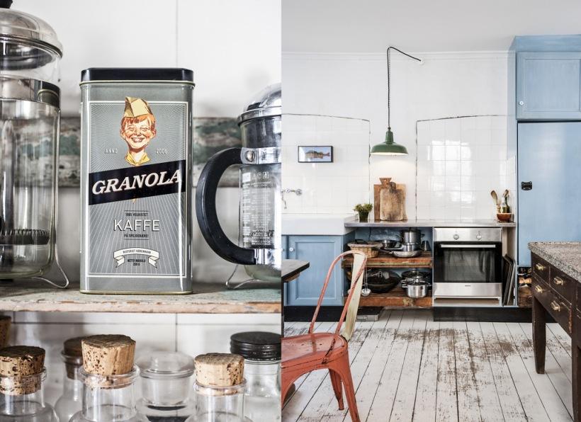 Niebieska kuchnia z wyspą vintage i rdzawymi  zdjęcie w serwisie Lovingit pl   -> Niebieska Kuchnia Inspiracje