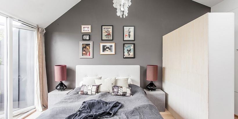 szare ciany i narzuta biale ko i szafy zdj cie w serwisie 23973. Black Bedroom Furniture Sets. Home Design Ideas