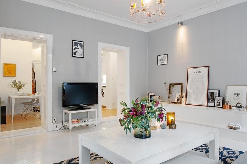 pomys na bia o szary salon w stylu skandynawskim zdj cie w serwisie 26990. Black Bedroom Furniture Sets. Home Design Ideas