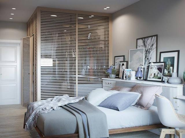 Sypialnia Z Wydzieloną Garderobą W Neutralnej Zdjęcie W