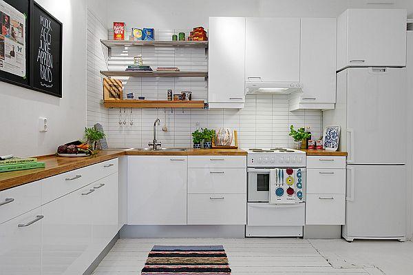 bia a kuchnia z drewnianym blatem i metalowymi zdj cie w serwisie 20927. Black Bedroom Furniture Sets. Home Design Ideas