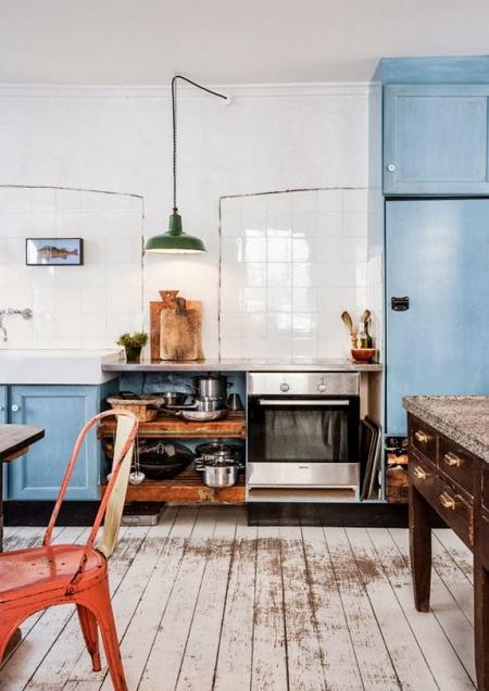 Niebieska kuchnia w stylu vintage  zdjęcie w serwisie Lovingit pl (21034) -> Niebieska Kuchnia Inspiracje