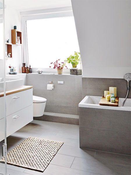Szara łazienka Na Poddaszu Zdjęcie W Serwisie Lovingitpl