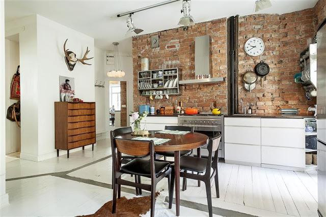 ciana z czerwonej ceg y w kuchni skandynawska zdj cie w serwisie 37377. Black Bedroom Furniture Sets. Home Design Ideas