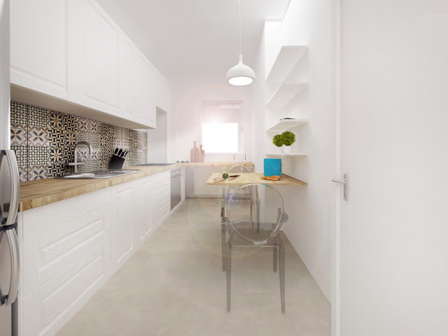 bia a kuchnia z drewnianym blatem w stylu zdj cie w serwisie 48360. Black Bedroom Furniture Sets. Home Design Ideas