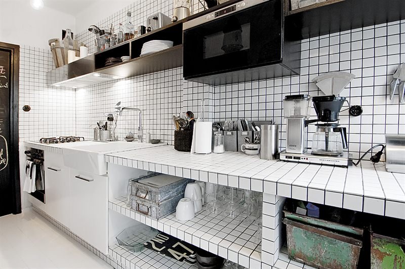 Skandynawska kuchnia,białoczarna kuchnia,industrialna